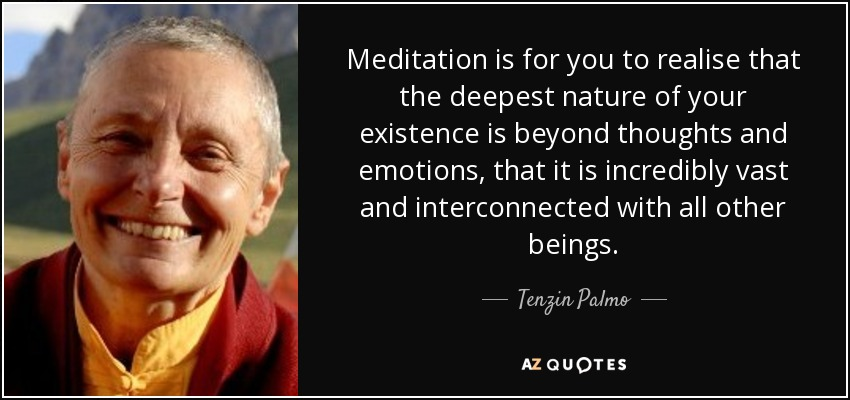 Meditation is for you to realise that the deepest nature of your existence is beyond thoughts and emotions, that it is incredibly vast and interconnected with all other beings. - Tenzin Palmo
