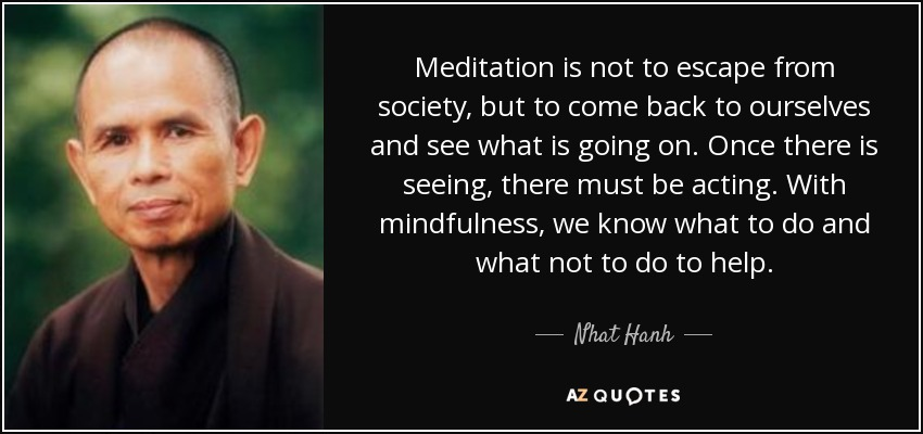 Meditation is not to escape from society, but to come back to ourselves and see what is going on. Once there is seeing, there must be acting. With mindfulness, we know what to do and what not to do to help.