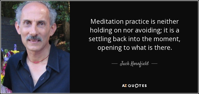 Meditation practice is neither holding on nor avoiding; it is a settling back into the moment, opening to what is there. - Jack Kornfield