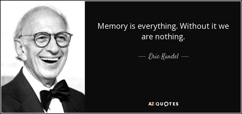 Memory is everything. Without it we are nothing. - Eric Kandel