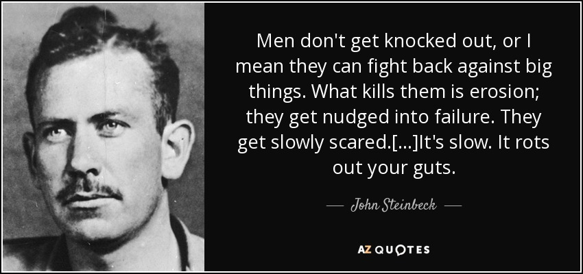 Men don't get knocked out, or I mean they can fight back against big things. What kills them is erosion; they get nudged into failure. They get slowly scared.[...]It's slow. It rots out your guts. - John Steinbeck