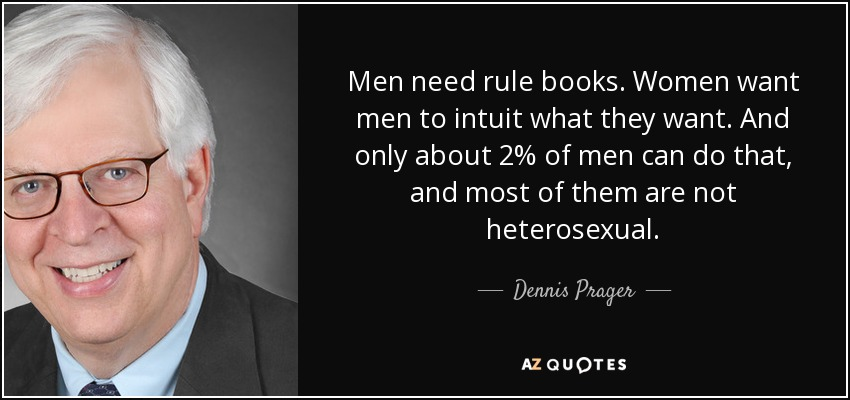 Men need rule books. Women want men to intuit what they want. And only about 2% of men can do that, and most of them are not heterosexual. - Dennis Prager