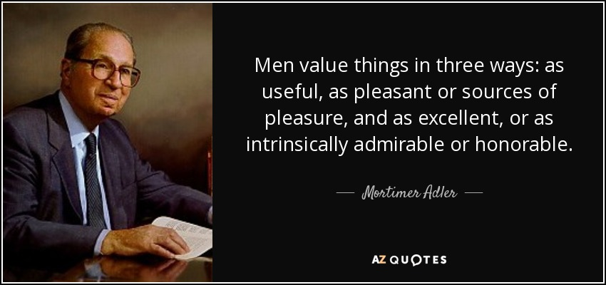 Men value things in three ways: as useful, as pleasant or sources of pleasure, and as excellent, or as intrinsically admirable or honorable. - Mortimer Adler