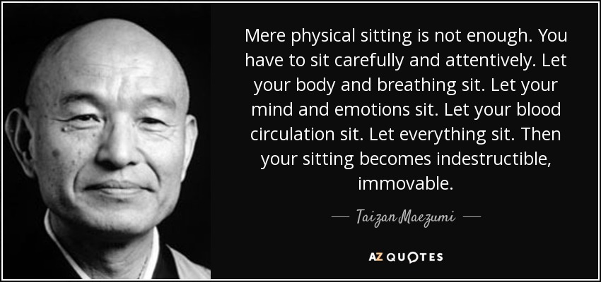 Mere physical sitting is not enough. You have to sit carefully and attentively. Let your body and breathing sit. Let your mind and emotions sit. Let your blood circulation sit. Let everything sit. Then your sitting becomes indestructible, immovable. - Taizan Maezumi