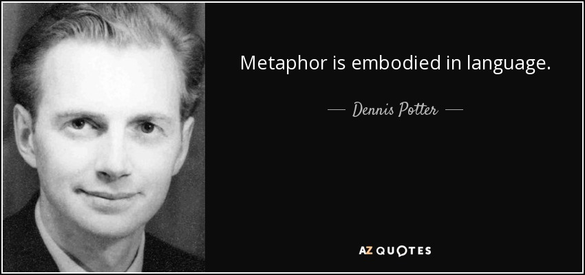 Metaphor is embodied in language. - Dennis Potter