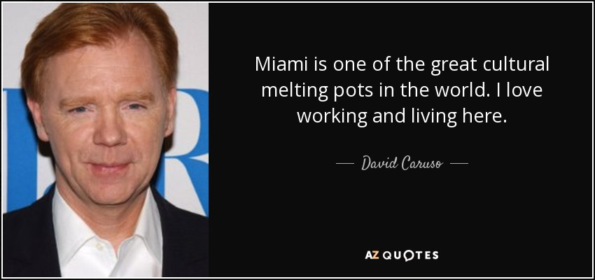 Miami is one of the great cultural melting pots in the world. I love working and living here. - David Caruso