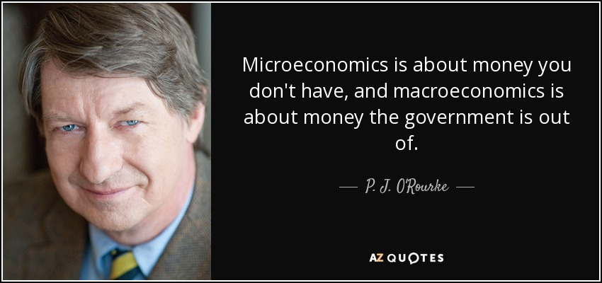 Microeconomics is about money you don't have, and macroeconomics is about money the government is out of. - P. J. O'Rourke
