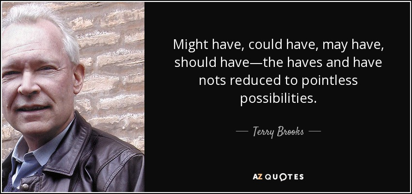 Might have, could have, may have, should have—the haves and have nots reduced to pointless possibilities. - Terry Brooks