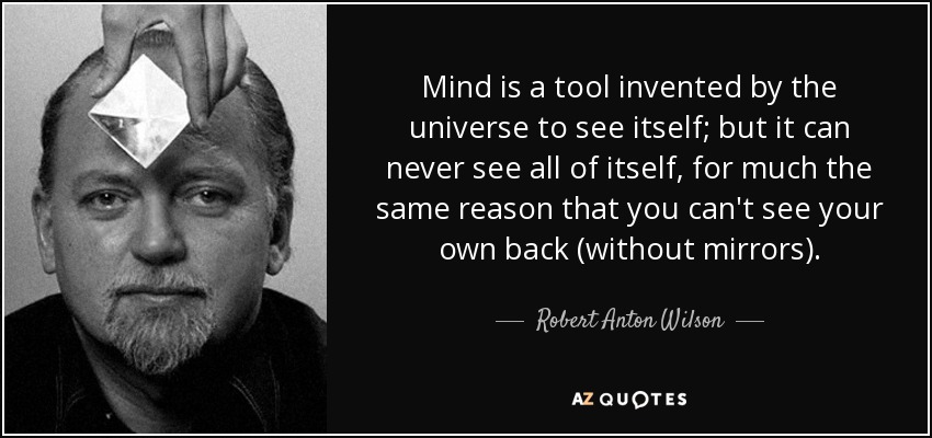 Mind is a tool invented by the universe to see itself; but it can never see all of itself, for much the same reason that you can't see your own back (without mirrors). - Robert Anton Wilson