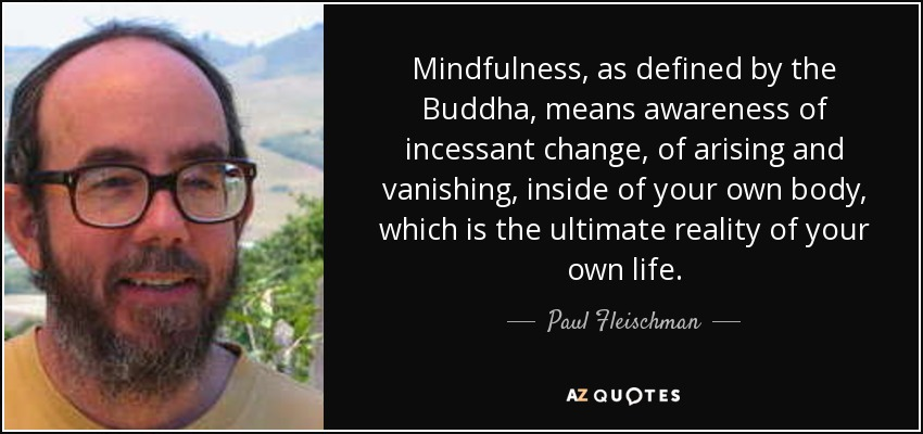 Mindfulness, as defined by the Buddha, means awareness of incessant change, of arising and vanishing, inside of your own body, which is the ultimate reality of your own life. - Paul Fleischman