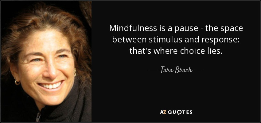 Mindfulness is a pause - the space between stimulus and response: that's where choice lies. - Tara Brach
