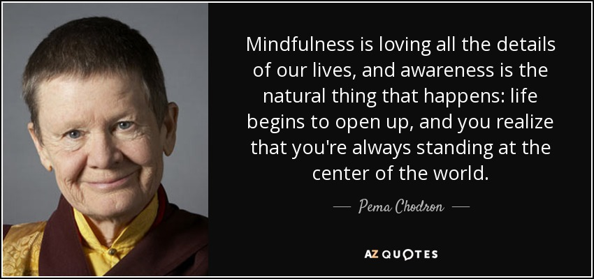 Mindfulness is loving all the details of our lives, and awareness is the natural thing that happens: life begins to open up, and you realize that you're always standing at the center of the world. - Pema Chodron