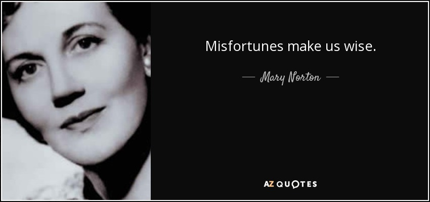 Misfortunes make us wise. - Mary Norton