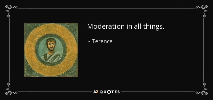 Moderation in all things. - Terence