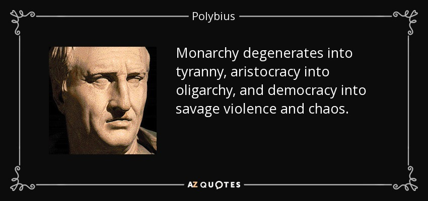 Monarchy degenerates into tyranny, aristocracy into oligarchy, and democracy into savage violence and chaos. - Polybius