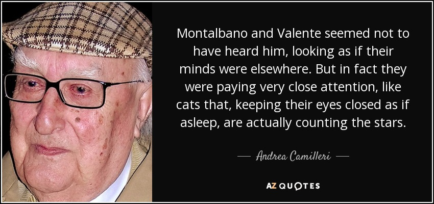 Montalbano and Valente seemed not to have heard him, looking as if their minds were elsewhere. But in fact they were paying very close attention, like cats that, keeping their eyes closed as if asleep, are actually counting the stars. - Andrea Camilleri