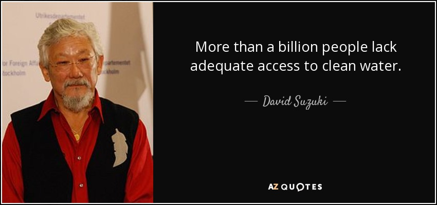 More than a billion people lack adequate access to clean water. - David Suzuki