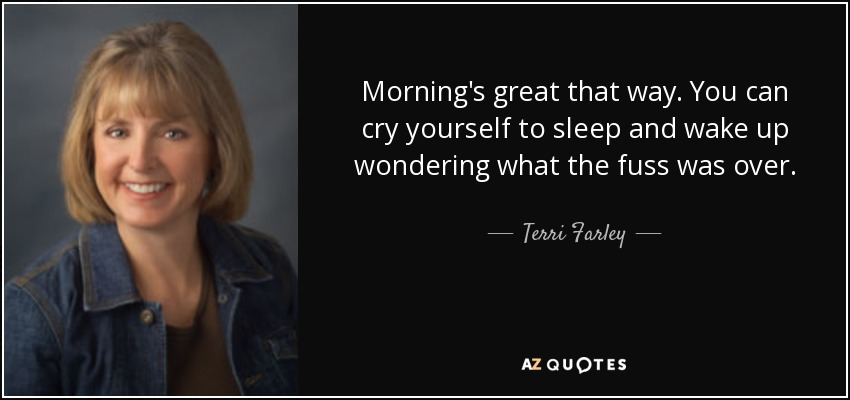 Morning's great that way. You can cry yourself to sleep and wake up wondering what the fuss was over. - Terri Farley