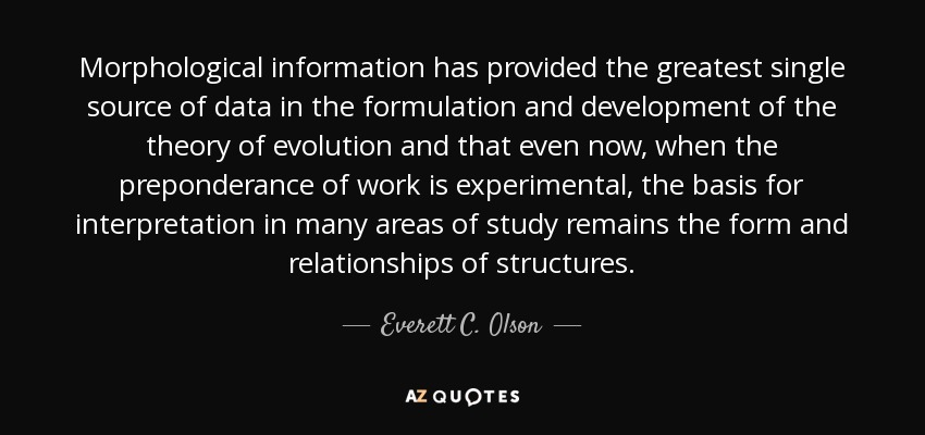 Morphological information has provided the greatest single source of data in the formulation and development of the theory of evolution and that even now, when the preponderance of work is experimental, the basis for interpretation in many areas of study remains the form and relationships of structures. - Everett C. Olson