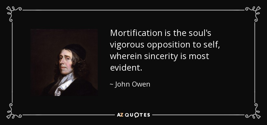 Mortification is the soul's vigorous opposition to self, wherein sincerity is most evident. - John Owen