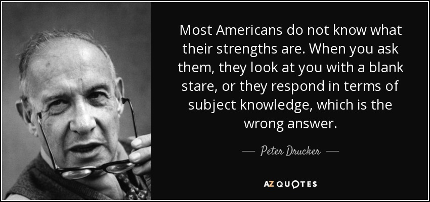 Most Americans do not know what their strengths are. When you ask them, they look at you with a blank stare, or they respond in terms of subject knowledge, which is the wrong answer. - Peter Drucker
