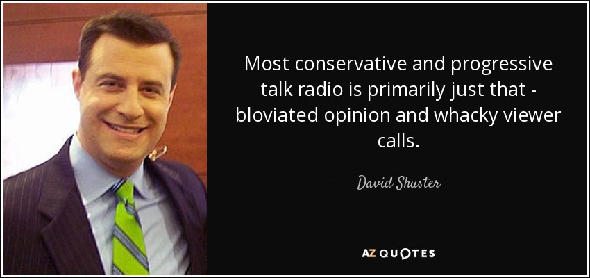 Most conservative and progressive talk radio is primarily just that - bloviated opinion and whacky viewer calls. - David Shuster