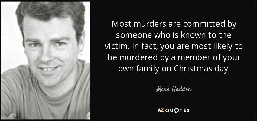 Most murders are committed by someone who is known to the victim. In fact, you are most likely to be murdered by a member of your own family on Christmas day. - Mark Haddon