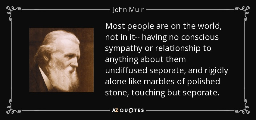 Most people are on the world, not in it-- having no conscious sympathy or relationship to anything about them-- undiffused seporate, and rigidly alone like marbles of polished stone, touching but seporate. - John Muir