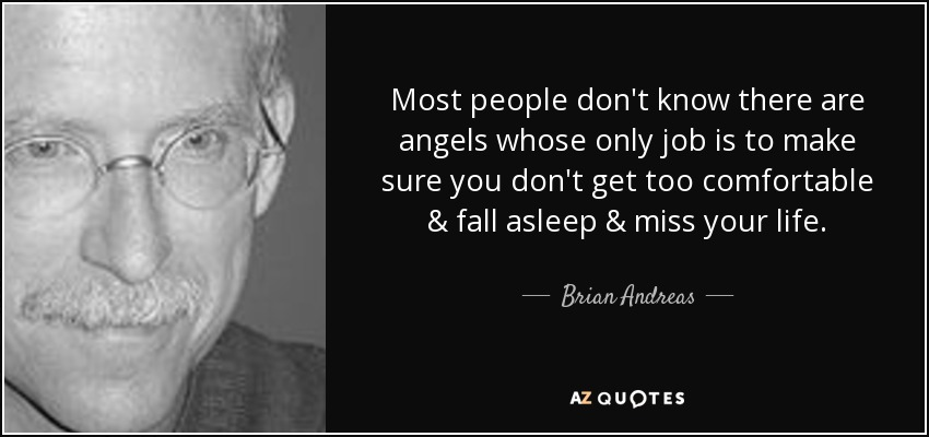 Most people don't know there are angels whose only job is to make sure you don't get too comfortable & fall asleep & miss your life. - Brian Andreas