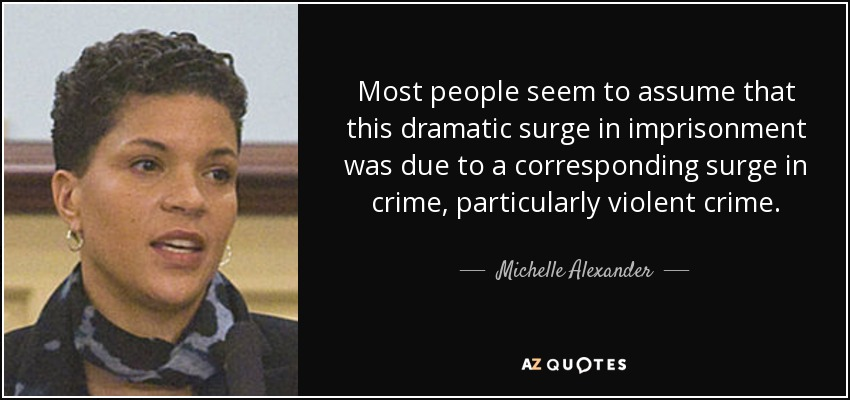 Most people seem to assume that this dramatic surge in imprisonment was due to a corresponding surge in crime, particularly violent crime. - Michelle Alexander