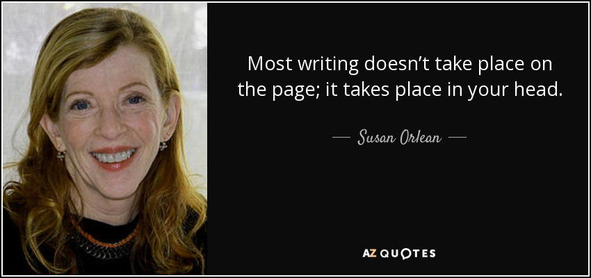 Most writing doesn't take place on the page; it takes place in your head. - Susan Orlean