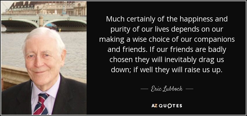 Much certainly of the happiness and purity of our lives depends on our making a wise choice of our companions and friends. If our friends are badly chosen they will inevitably drag us down; if well they will raise us up. - Eric Lubbock, 4th Baron Avebury