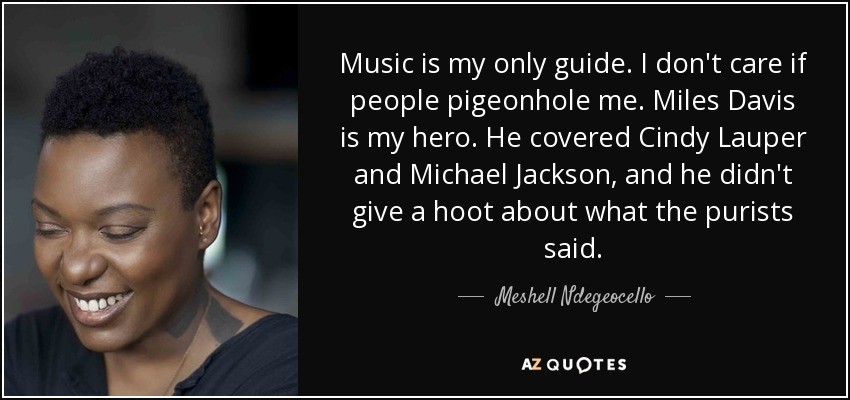 Music is my only guide. I don't care if people pigeonhole me. Miles Davis is my hero. He covered Cindy Lauper and Michael Jackson, and he didn't give a hoot about what the purists said. - Meshell Ndegeocello