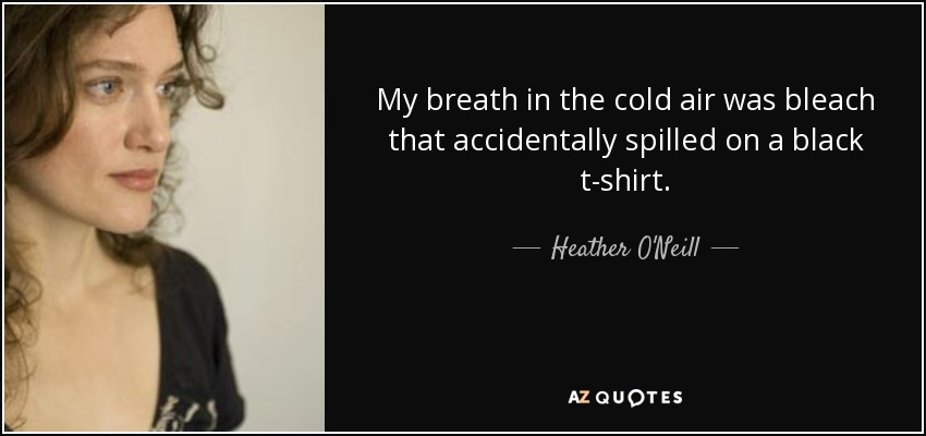 My breath in the cold air was bleach that accidentally spilled on a black t-shirt. - Heather O'Neill