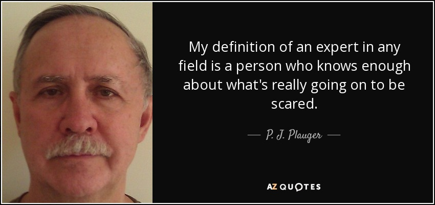 My definition of an expert in any field is a person who knows enough about what's really going on to be scared. - P. J. Plauger
