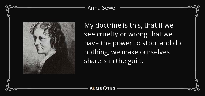 My doctrine is this, that if we see cruelty or wrong that we have the power to stop, and do nothing, we make ourselves sharers in the guilt. - Anna Sewell