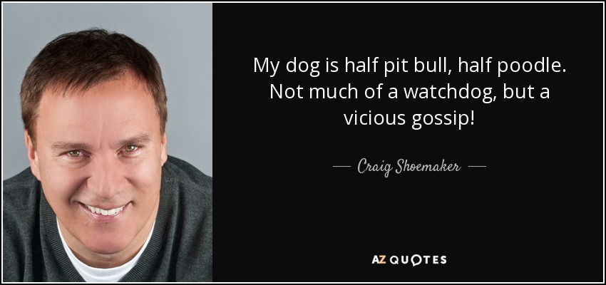 My dog is half pit bull, half poodle. Not much of a watchdog, but a vicious gossip! - Craig Shoemaker