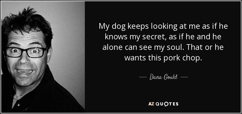 My dog keeps looking at me as if he knows my secret, as if he and he alone can see my soul. That or he wants this pork chop. - Dana Gould