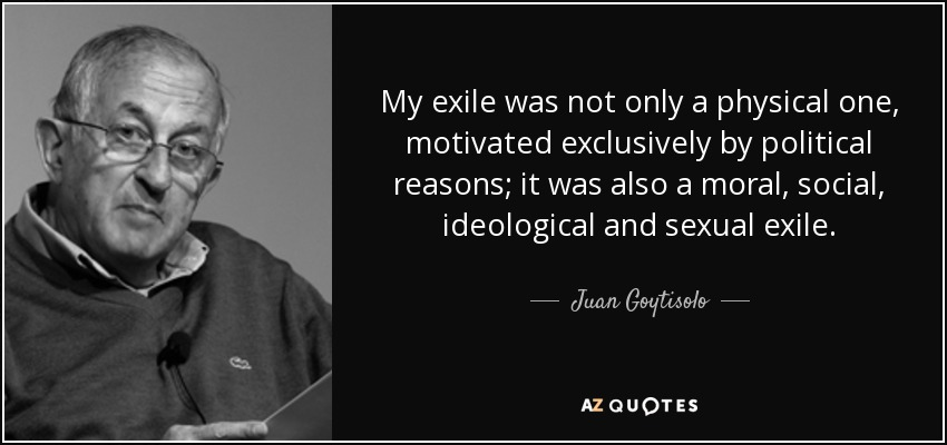 My exile was not only a physical one, motivated exclusively by political reasons; it was also a moral, social, ideological and sexual exile. - Juan Goytisolo