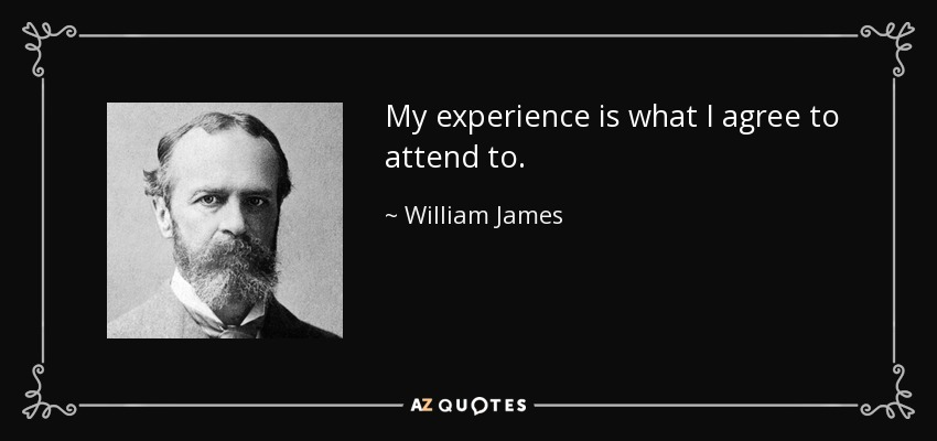 My experience is what I agree to attend to. - William James