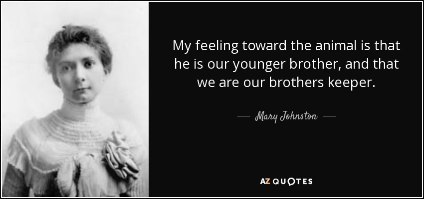 My feeling toward the animal is that he is our younger brother, and that we are our brothers keeper. - Mary Johnston