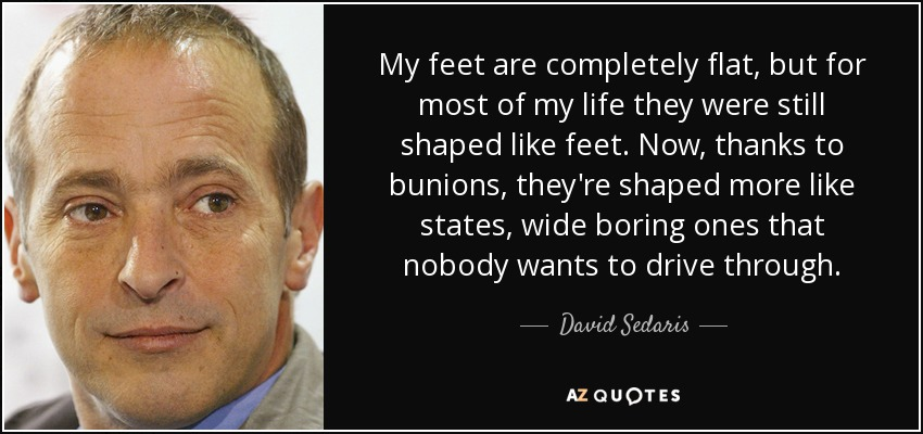 My feet are completely flat, but for most of my life they were still shaped like feet. Now, thanks to bunions, they're shaped more like states, wide boring ones that nobody wants to drive through. - David Sedaris