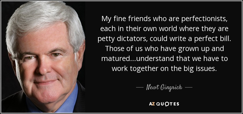 My fine friends who are perfectionists, each in their own world where they are petty dictators, could write a perfect bill. Those of us who have grown up and matured...understand that we have to work together on the big issues. - Newt Gingrich