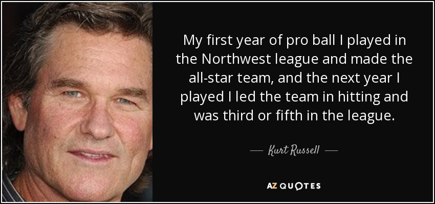 My first year of pro ball I played in the Northwest league and made the all-star team, and the next year I played I led the team in hitting and was third or fifth in the league. - Kurt Russell
