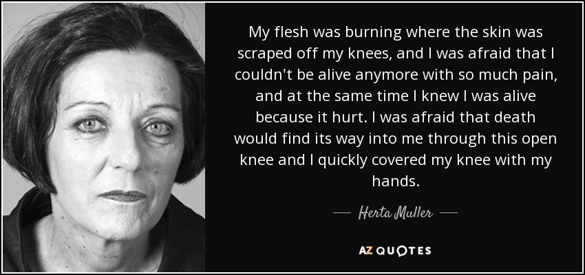 My flesh was burning where the skin was scraped off my knees, and I was afraid that I couldn't be alive anymore with so much pain, and at the same time I knew I was alive because it hurt. I was afraid that death would find its way into me through this open knee and I quickly covered my knee with my hands. - Herta Muller