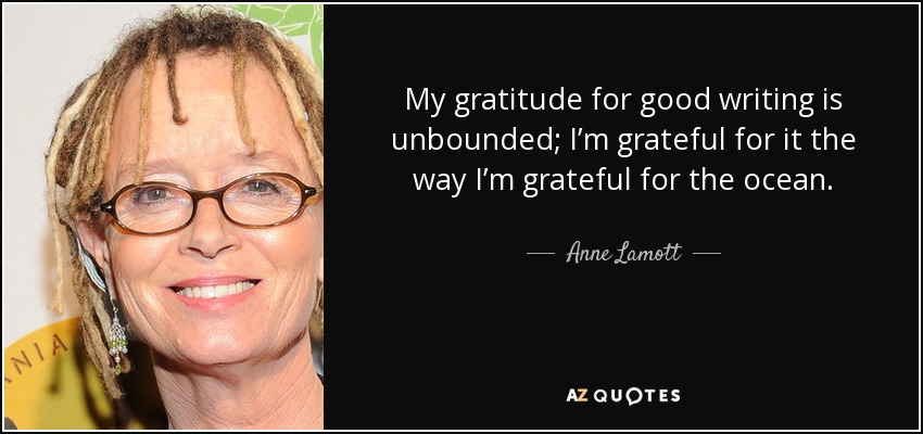 My gratitude for good writing is unbounded; I'm grateful for it the way I'm grateful for the ocean. - Anne Lamott
