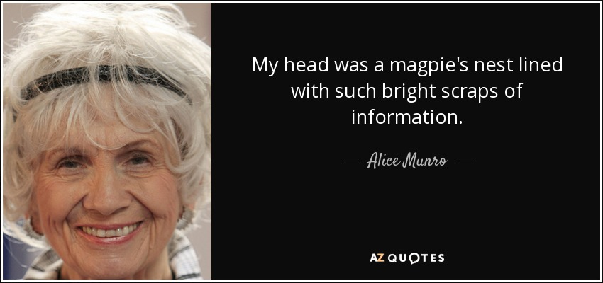 My head was a magpie's nest lined with such bright scraps of information. - Alice Munro