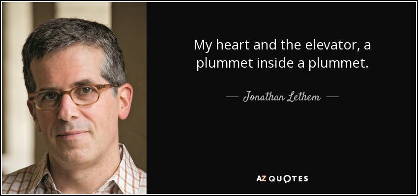 My heart and the elevator, a plummet inside a plummet. - Jonathan Lethem