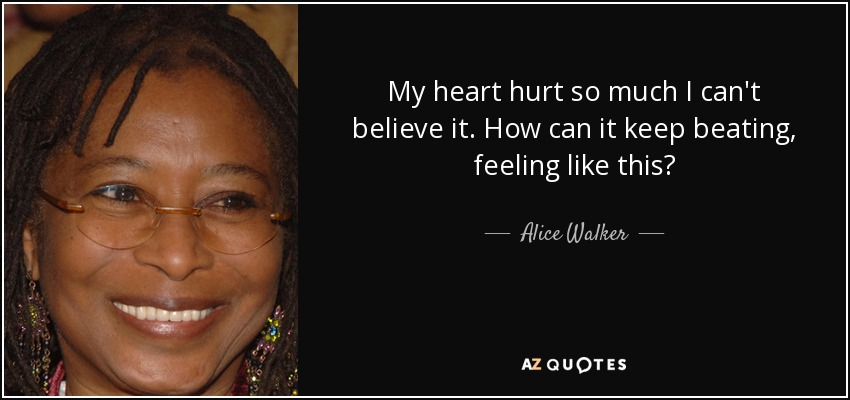 My heart hurt so much I can't believe it. How can it keep beating, feeling like this? - Alice Walker