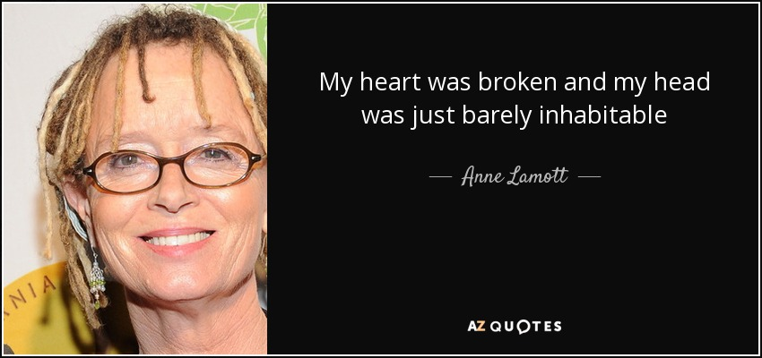 My heart was broken and my head was just barely inhabitable - Anne Lamott